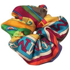Hermes Handmade Vintage Silk Scarf Scrunchie in Green and Rainbow Print