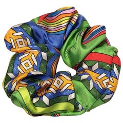 Handmade Belles du Mexique Silk Scarf Scrunchie in Green Blue and Yellow