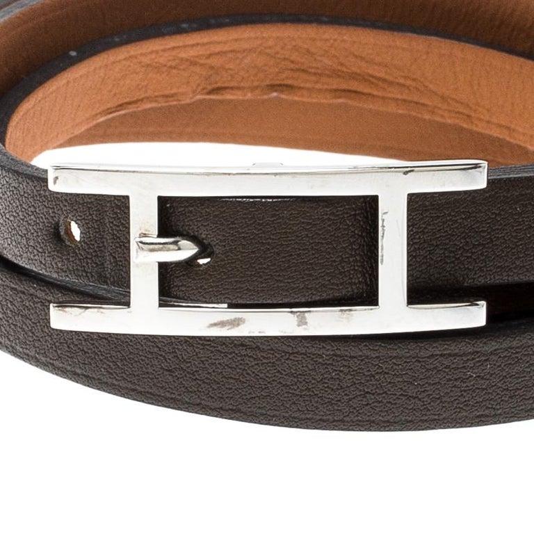 Contemporary Hermes Hapi 3 Dark Green Leather Palladium Plated Wrap Bracelet For Sale