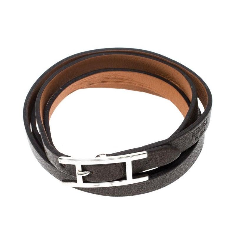 Men's Hermes Hapi 3 Dark Green Leather Palladium Plated Wrap Bracelet For Sale