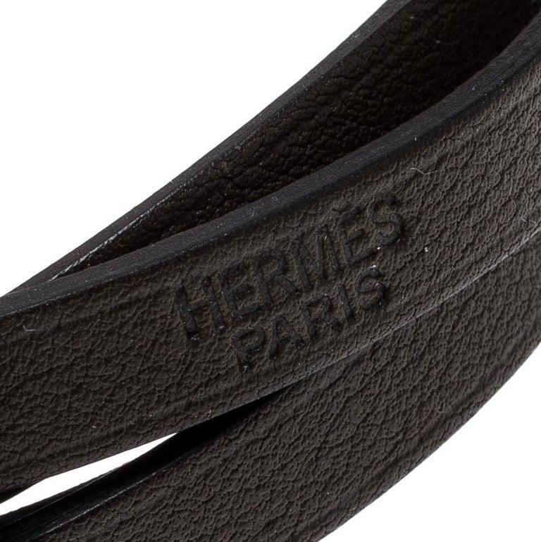 Hermes Hapi 3 Dark Green Leather Palladium Plated Wrap Bracelet For Sale 1
