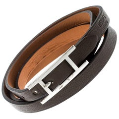 Hermes Hapi 3 Dark Green Leather Palladium Plated Wrap Bracelet
