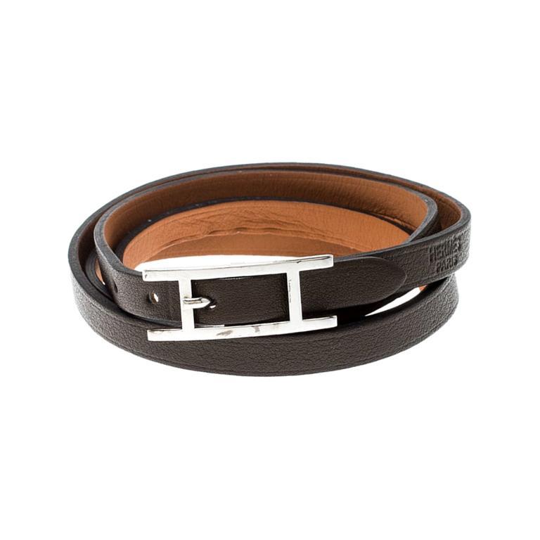 Hermes Hapi 3 Dark Green Leather Palladium Plated Wrap Bracelet For Sale