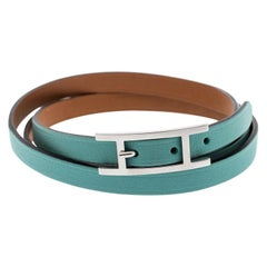Hermes Hapi 3 Light Blue Leather Palladium Plated Wrap Bracelet M