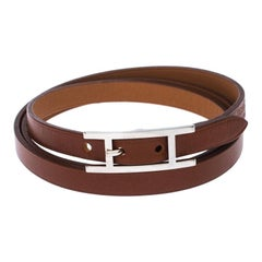 Hermès Hapi Brown Leather Palladium Plated Wrap Bracelet