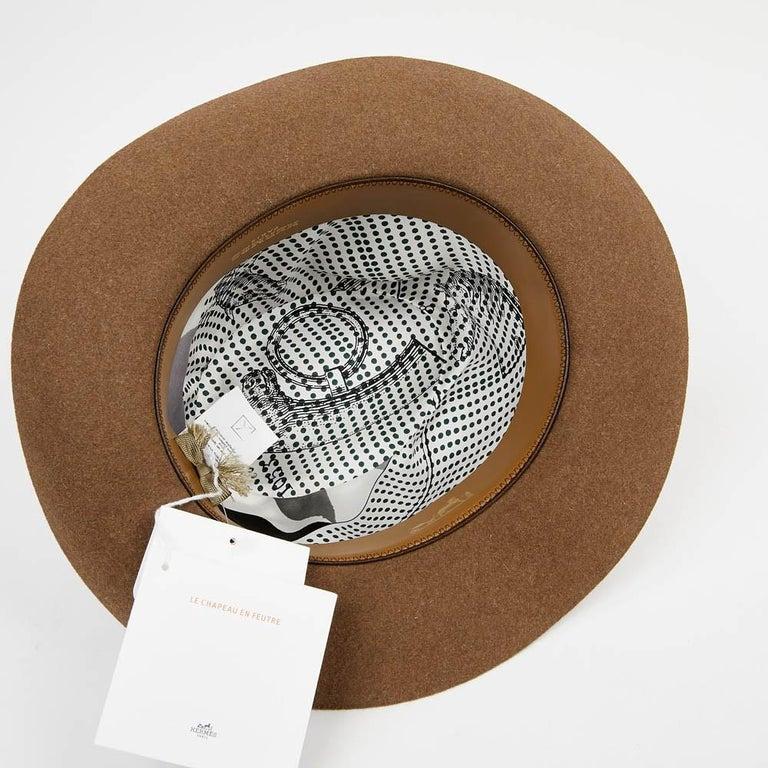 Women's or Men's Hermes Hat in Beige Size 57 For Sale