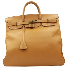 Hermes Haut à Courroies 45 in Gold Grained Leather