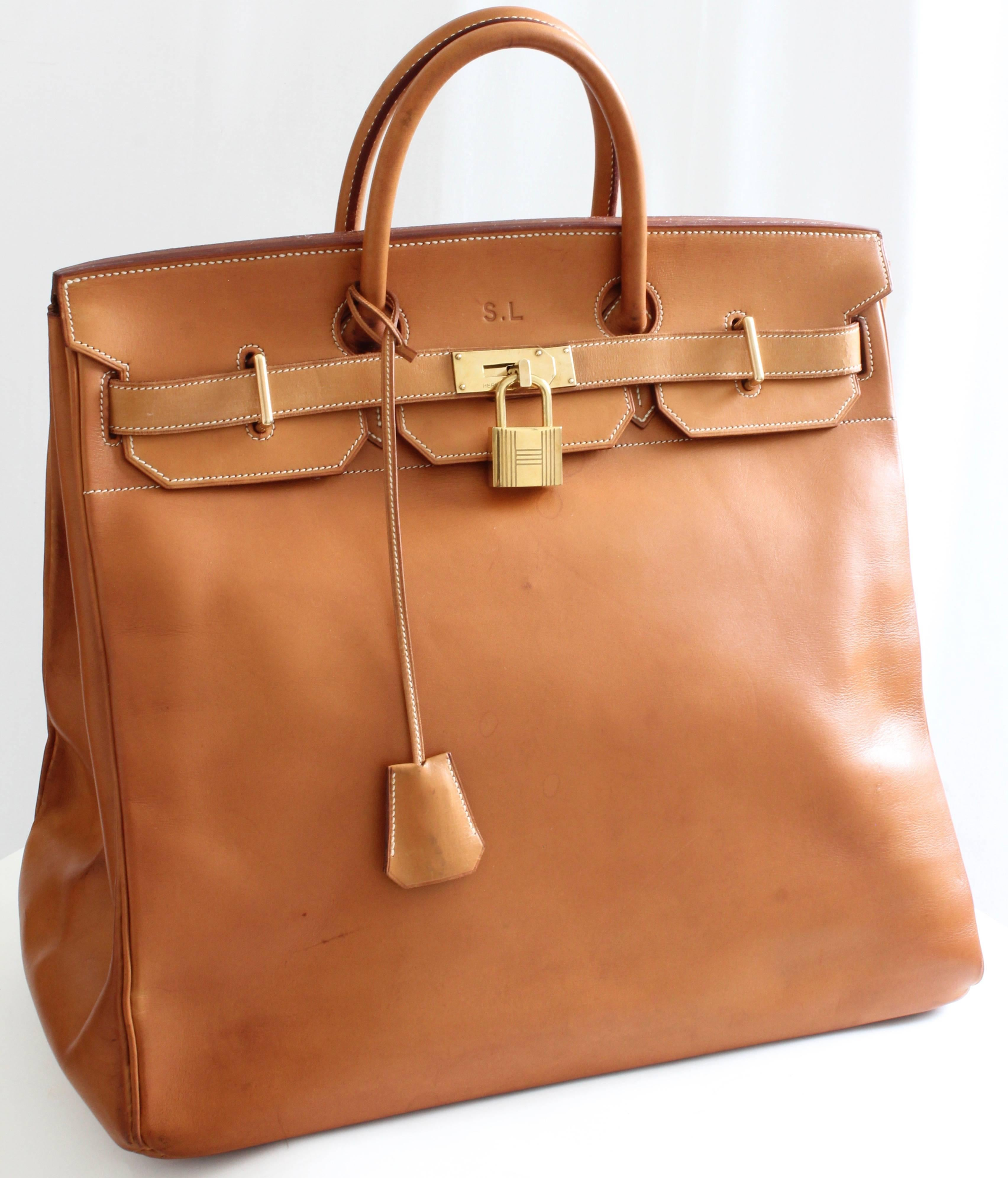 343c0f5d9f Hermes Haut A Courroies HAC 45cm Vache Natural Leather Travel Birkin Bag  For Sale at 1stdibs