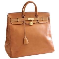 Hermes Haut A Courroies HAC 45cm Vache Natural Leather Travel Birkin Bag
