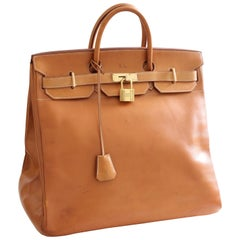 Hermes Haut A Courroies Travel Birkin Bag HAC 45cm Vache Natural Leather Vintage