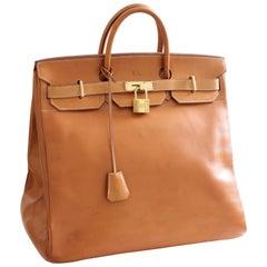 Hermes Haut A Courroies Travel Birkin Bag HAC 45cm Vache Natural Leather Vintage