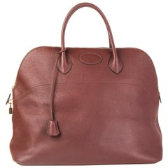 HERMES Havane brown Clemence leather BOLIDE 45 Travel Bag