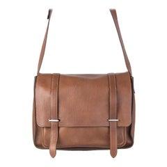 HERMES Havane brown Clemence leather STEVE 35 Messenger Bag