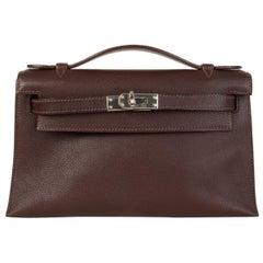 HERMES Havane brown Swift leather KELLY POCHETTE Clutch Bag
