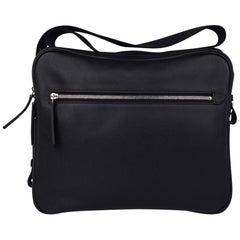 Hermes Hebdo Reporter Messenger Bag Black Evergrain Palladium New