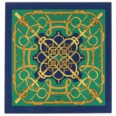 "HERMES Henri d'Origny ""Eperon D'or"" Green Blue Gold Equestrian Large Silk Scarf"