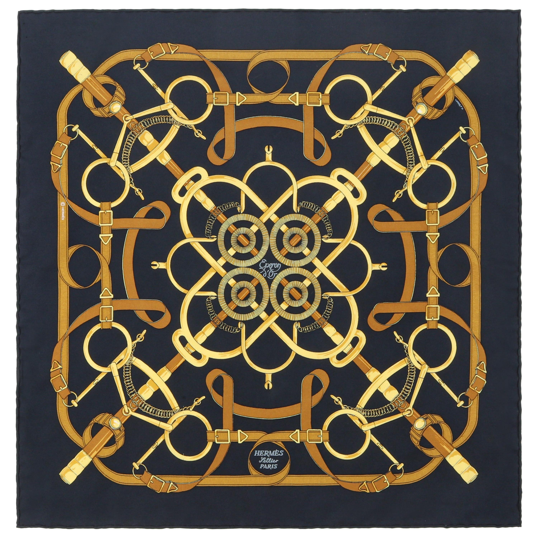 "HERMES Henri d'Origny ""Eperon D'or"" Navy Blue Brown Gold Equine Print Silk Scarf"