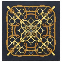 "HERMES Henri d'Origny ""Eperon D'or"" Navy Blue Brown Gold Equine Print Silk Scarf"