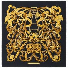 "HERMES Henri D'Origny ""Le Mors A La Conetable"" Dark Blue Gold Print Scarf"