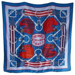 "HERMÈS Henri d'Origny ""Tatersale"" Blue Equestrian Geometric Print Silk Scarf"