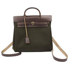 Hermes Herbag Backpack in Dark Brown Leather and Green Canvas