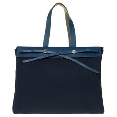 Hermès Herbag GM handbag in navy blue canvas and blue leather