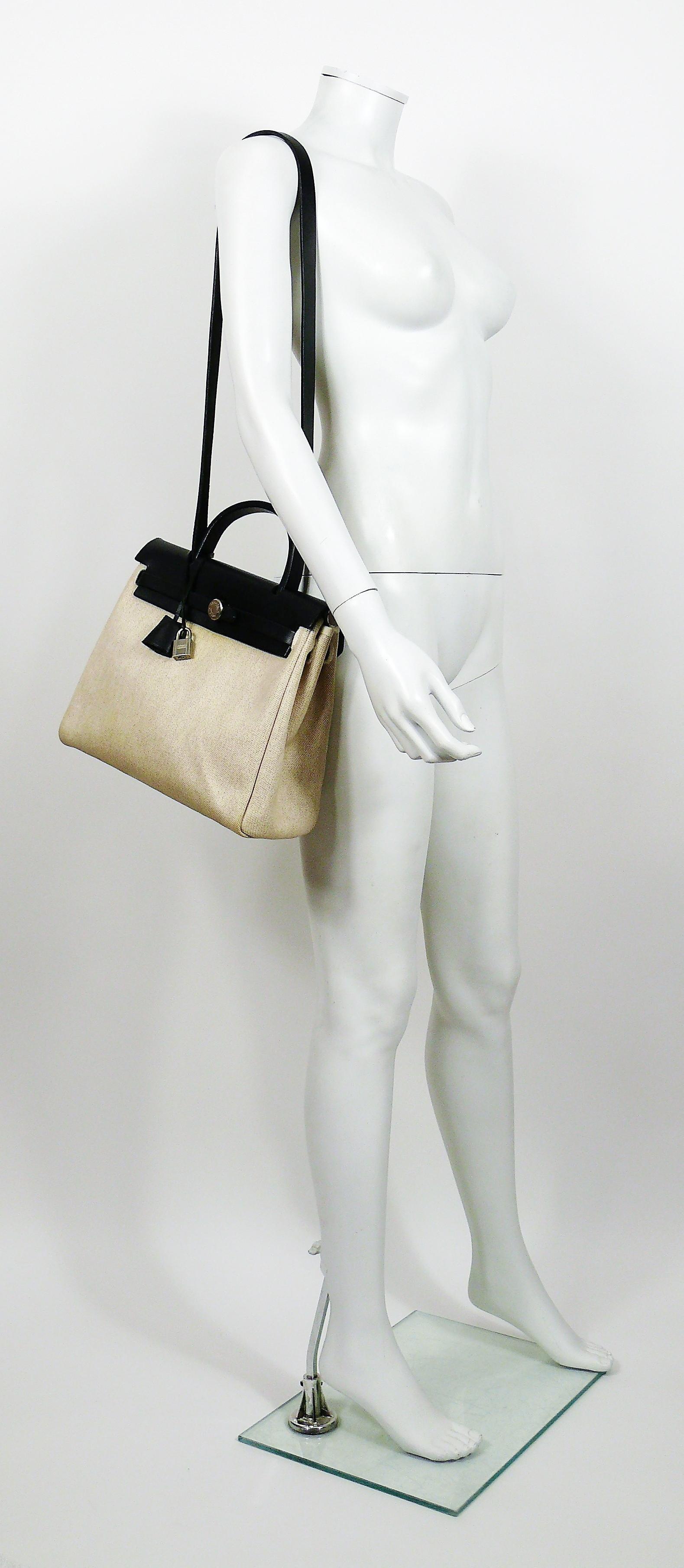 9d8bda5b872f Hermes Herbag PM 2 in 1 Canvas Black Leather Shoulder Bag For Sale at  1stdibs