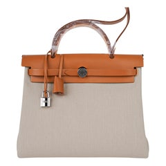 Hermes Herbag Zip 31 Bag Beton Toile / Natural Sable Leather Palladium New w/Box