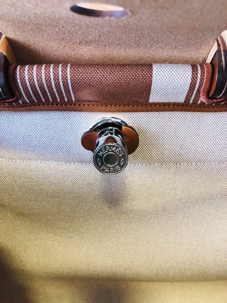 Hermes Herbag Zip 39 Retourne Ecru Beige - XL- New Condition For Sale 7