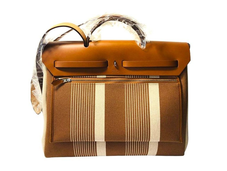 Hermes Herbag Zip 39 Retourne Ecru Beige - XL- New Condition In New Condition For Sale In London, GB