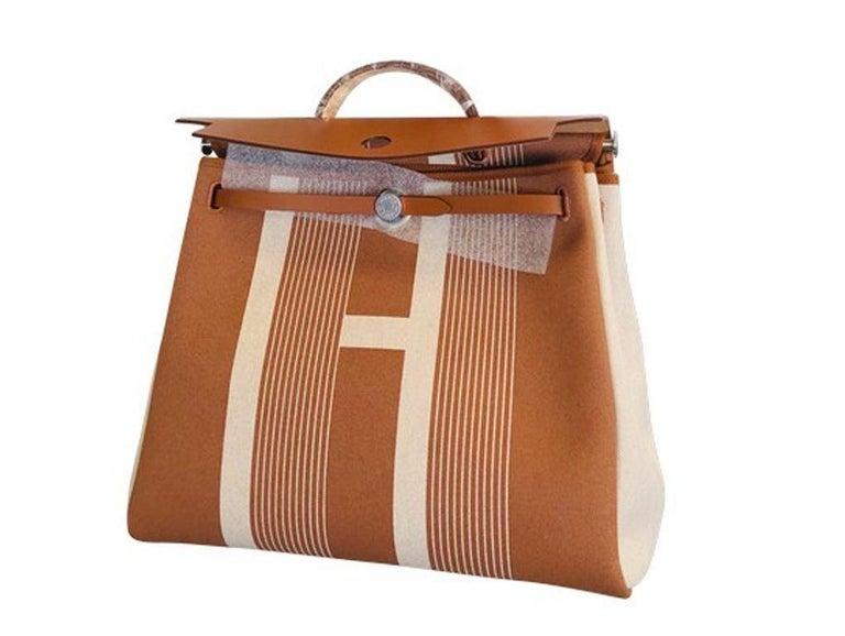 Hermes Herbag Zip 39 Retourne Ecru Beige - XL- New Condition For Sale 3
