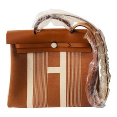 Hermes Herbag Zip 39 Retourne Ecru Beige - XL- New Condition