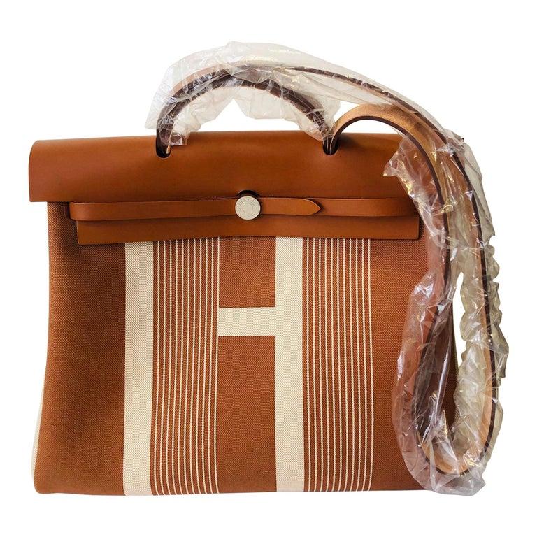 Hermes Herbag Zip 39 Retourne Ecru Beige - XL- New Condition For Sale