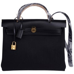 Hermes Herbag Zip Black on Black 31 Officier Canvas / Vache Hunter Leather