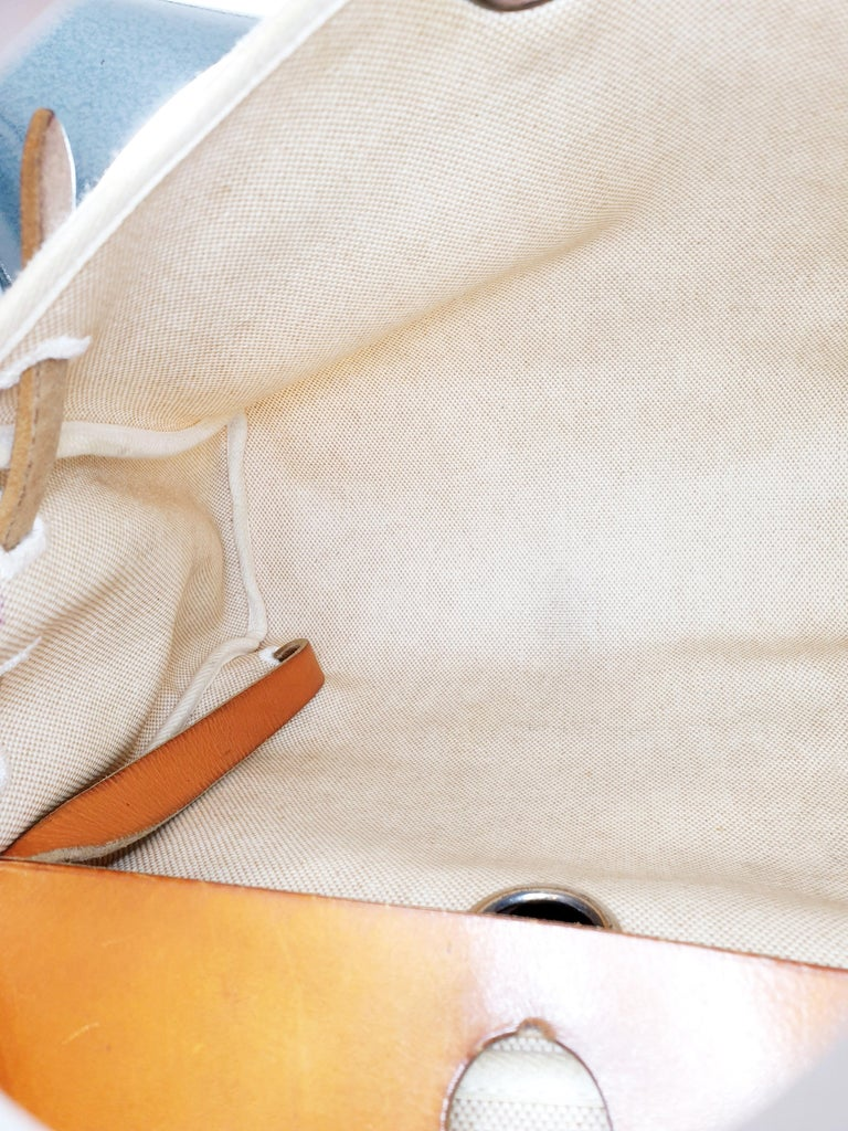 Hermes Herbag Zip Leather and Toile 39 For Sale 1
