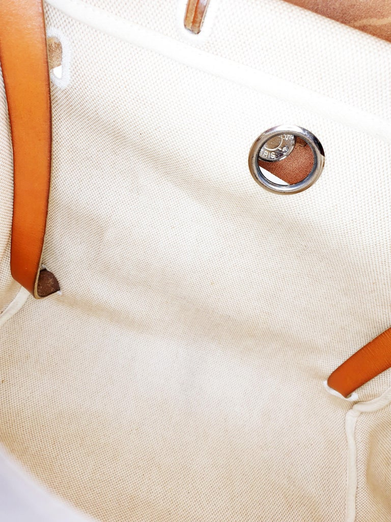 Hermes Herbag Zip Leather and Toile 39 For Sale 3