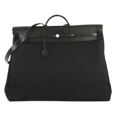 Hermes Herbag Zip Leather And Toile 50