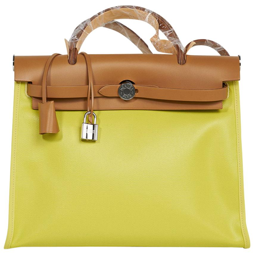 Hermes Herbag Zip Lime PM 31 Toile / Vache Hunter Leather New w/ Box