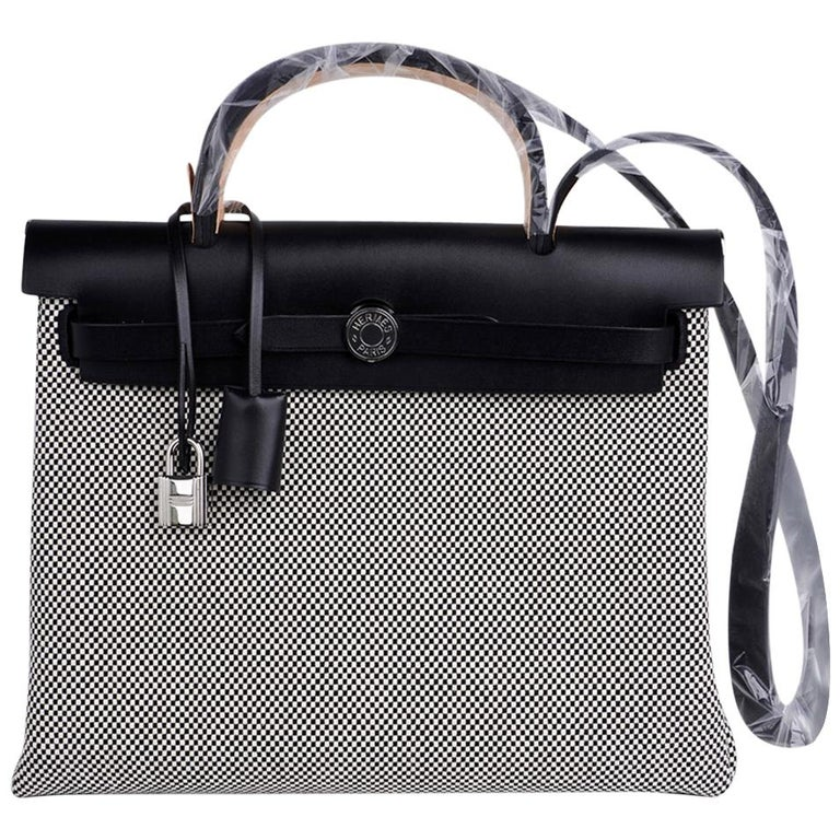 Hermes Herbag Zip Toile Criss Cross Toile 31 / Black Vache Hunter Leather New w/ For Sale
