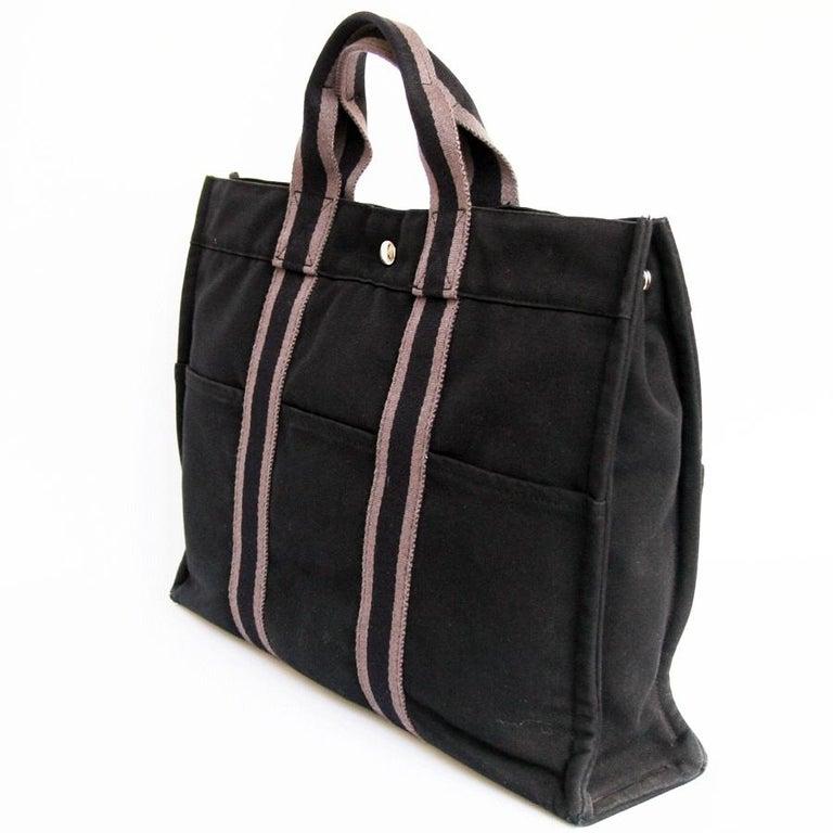 HERMES Herline Black Canvas Bag In Good Condition For Sale In Paris, FR