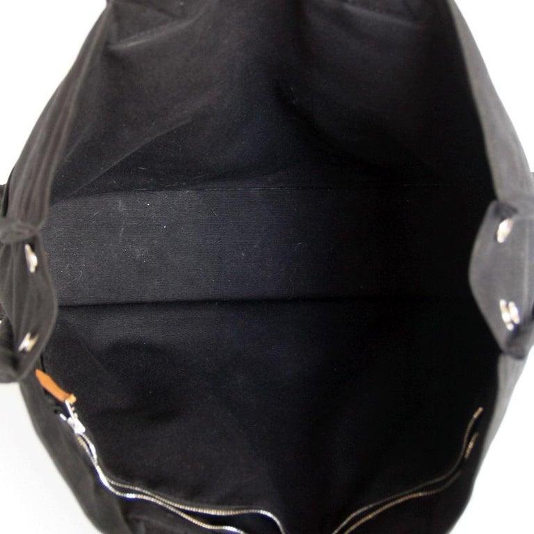 HERMES Herline Black Canvas Bag For Sale 1