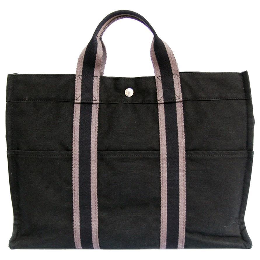 HERMES Herline Black Canvas Bag