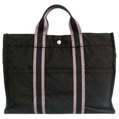 HERMES Herline Black Canvas Bag