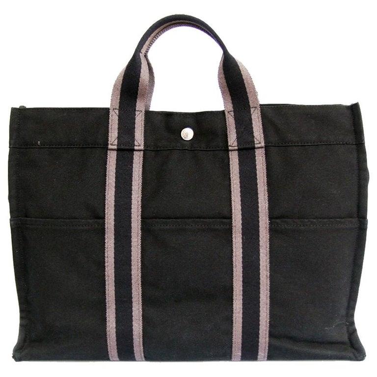 HERMES Herline Black Canvas Bag For Sale