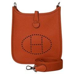 Hermes Hermers Mini Evelyne Palladium Hardware Orange