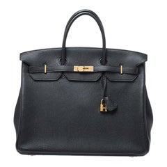 Hermes Black Togo Leather Gold Hardware Birkin 40 Bag