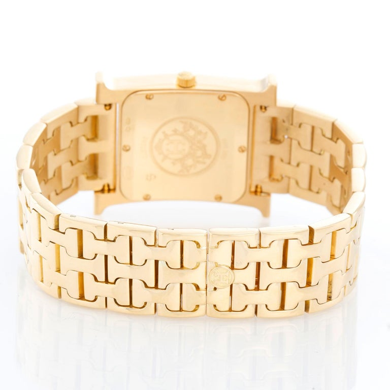 Hermes Heure H 18k Yellow Gold Ladies Watch HH1-585 In Excellent Condition For Sale In Dallas, TX
