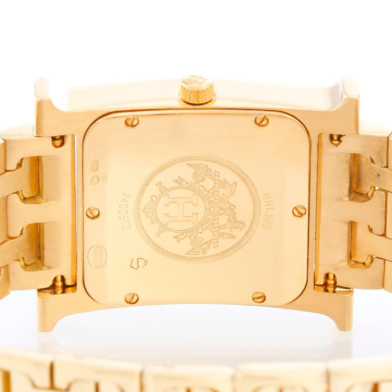 Women's Hermes Heure H 18k Yellow Gold Ladies Watch HH1-585 For Sale