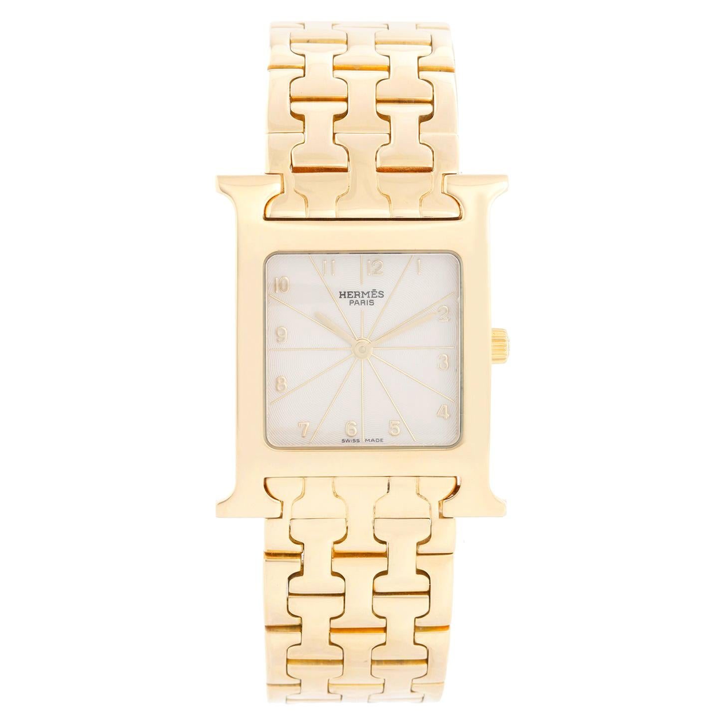 Hermes Heure H 18k Yellow Gold Ladies Watch HH1-585