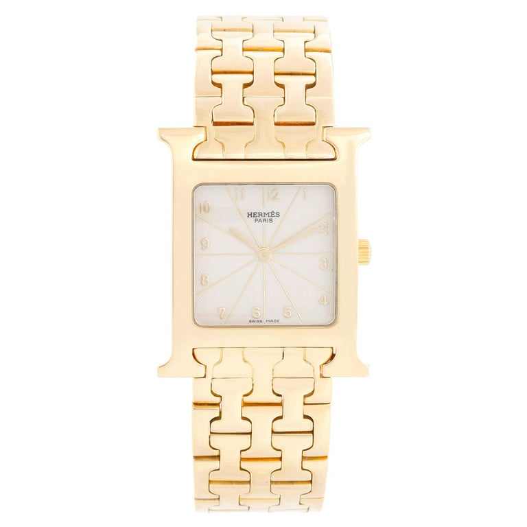 Hermes Heure H 18k Yellow Gold Ladies Watch HH1-585 For Sale